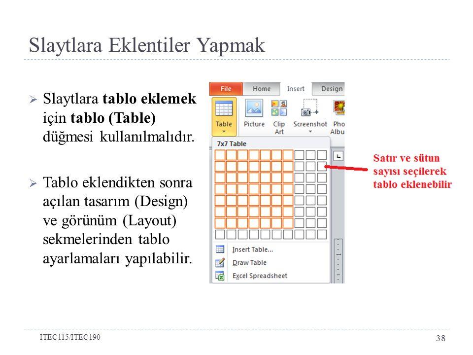 Slaytlara Eklentiler Yapmak  Slaytlara tablo eklemek için tablo (Table) düğmesi kullanılmalıdır.  Tablo eklendikten sonra açılan tasarım (Design) ve