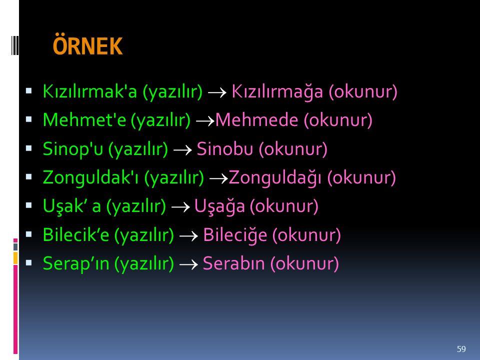 ÖRNEK  Kızılırmak a (yazılır)  Kızılırmağa (okunur)  Mehmet e (yazılır)  Mehmede (okunur)  Sinop u (yazılır)  Sinobu (okunur)  Zonguldak ı (yazılır)  Zonguldağı (okunur)  Uşak' a (yazılır)  Uşağa (okunur)  Bilecik'e (yazılır)  Bileciğe (okunur)  Serap'ın (yazılır)  Serabın (okunur) 59