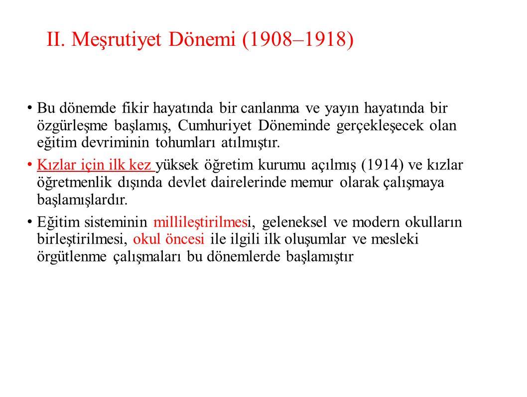 II. Meşrutiyet Dönemi (1908–1918) Bu dönemde fikir hayatında bir canlanma ve yayın hayatında bir özgürleşme başlamış, Cumhuriyet Döneminde gerçekleşec
