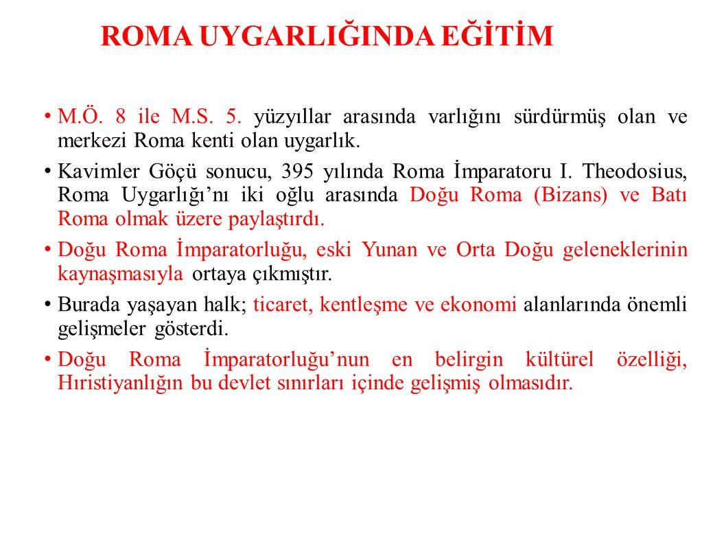 ROMA UYGARLIĞINDA EĞİTİM M.Ö.8 ile M.S. 5.