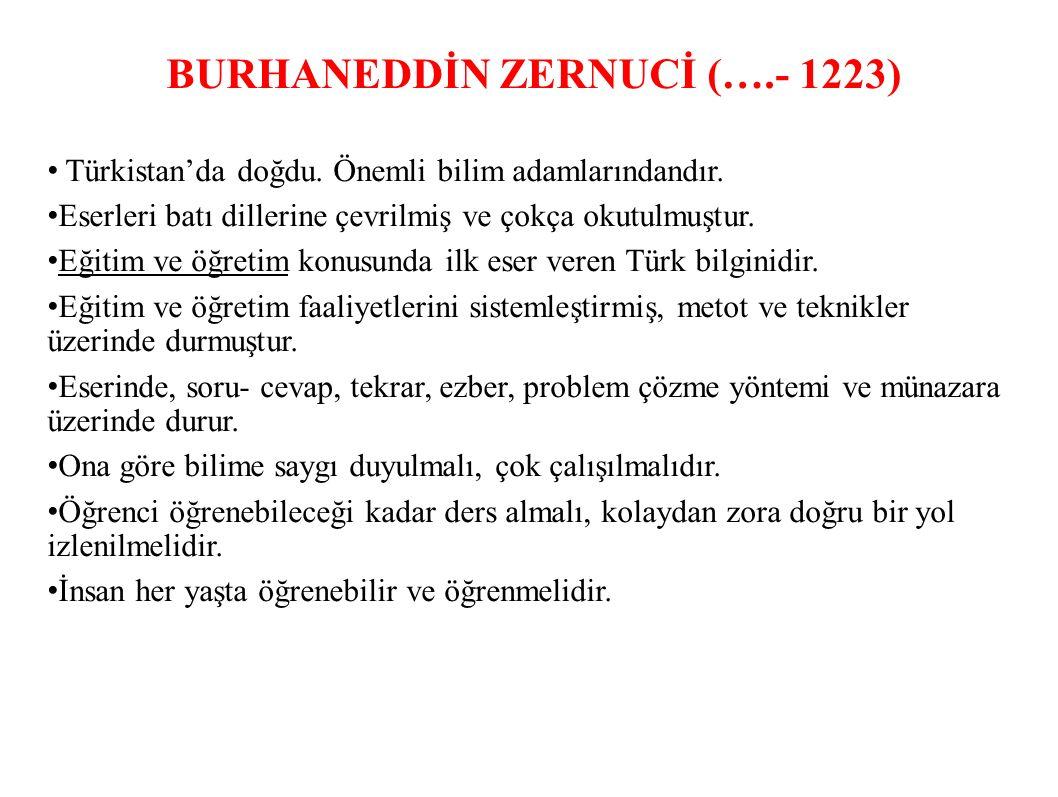 BURHANEDDİN ZERNUCİ (….- 1223) Türkistan'da doğdu.