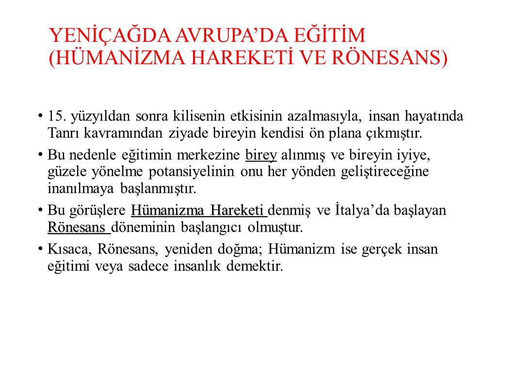 YENİÇAĞDA AVRUPA'DA EĞİTİM (HÜMANİZMA HAREKETİ VE RÖNESANS) 15.