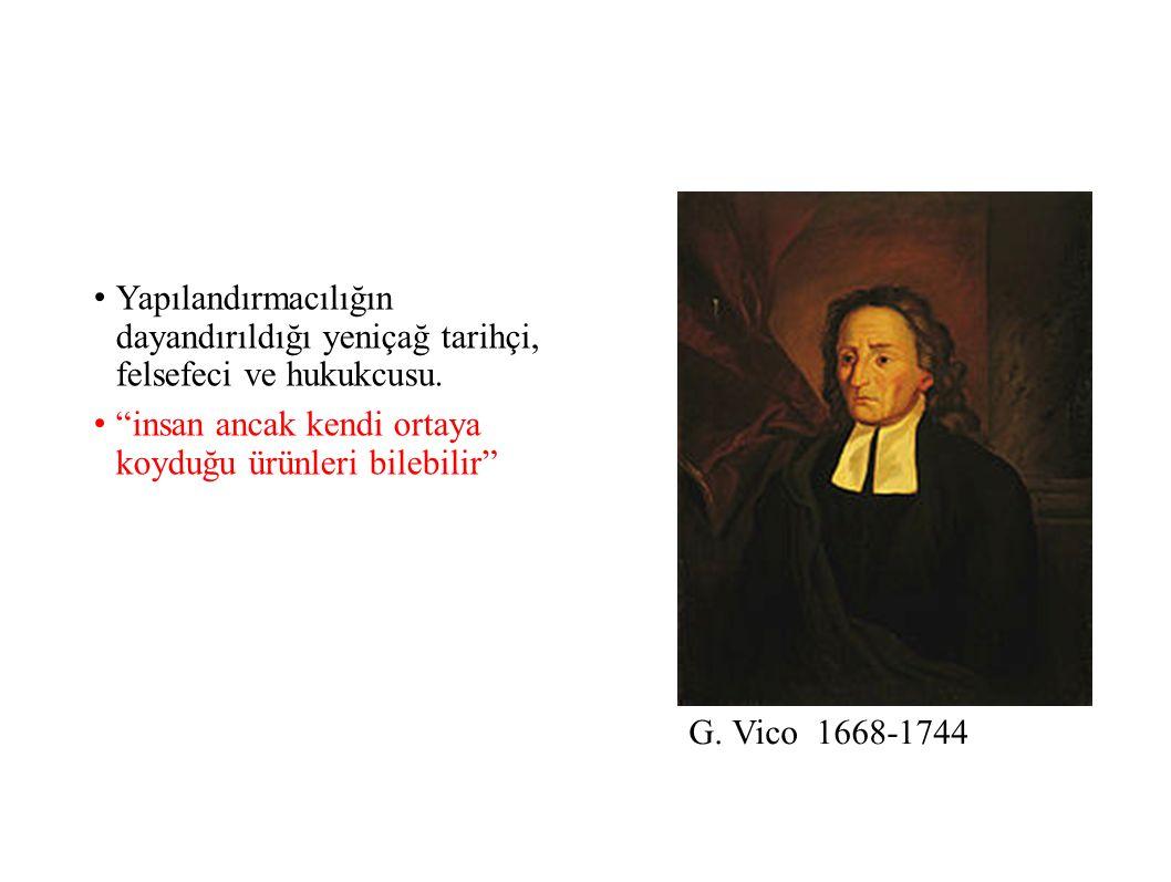 G.Vico 1668-1744 Yapılandırmacılığın dayandırıldığı yeniçağ tarihçi, felsefeci ve hukukcusu.