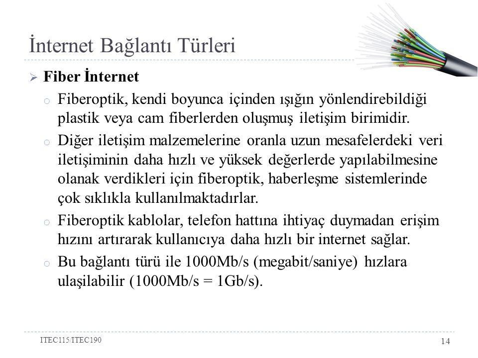 İnternet Bağlantı Türleri  Fiber İnternet o Fiberoptik, kendi boyunca içinden ışığın yönlendirebildiği plastik veya cam fiberlerden oluşmuş iletişim