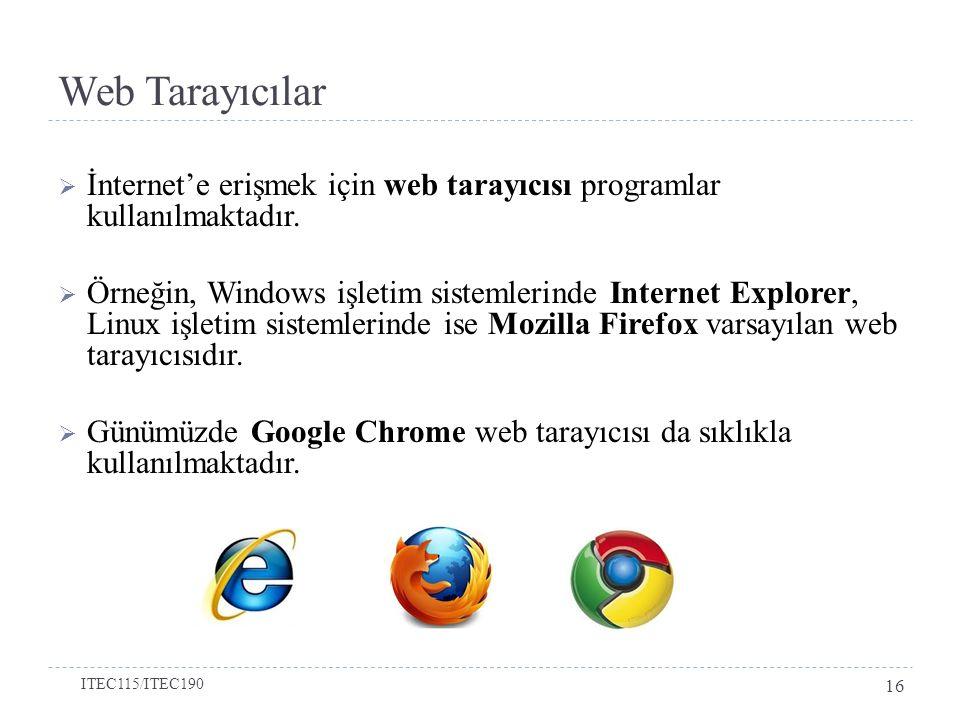 Web Tarayıcılar  İnternet'e erişmek için web tarayıcısı programlar kullanılmaktadır.  Örneğin, Windows işletim sistemlerinde Internet Explorer, Linu