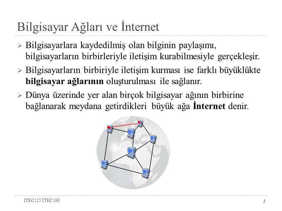 Bilgisayar Ağları ve İnternet  Bilgisayarlara kaydedilmiş olan bilginin paylaşımı, bilgisayarların birbirleriyle iletişim kurabilmesiyle gerçekleşir.