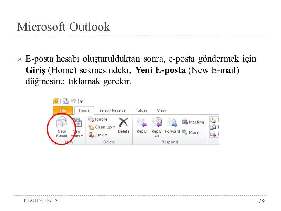 Microsoft Outlook  E-posta hesabı oluşturulduktan sonra, e-posta göndermek için Giriş (Home) sekmesindeki, Yeni E-posta (New E-mail) düğmesine tıklam