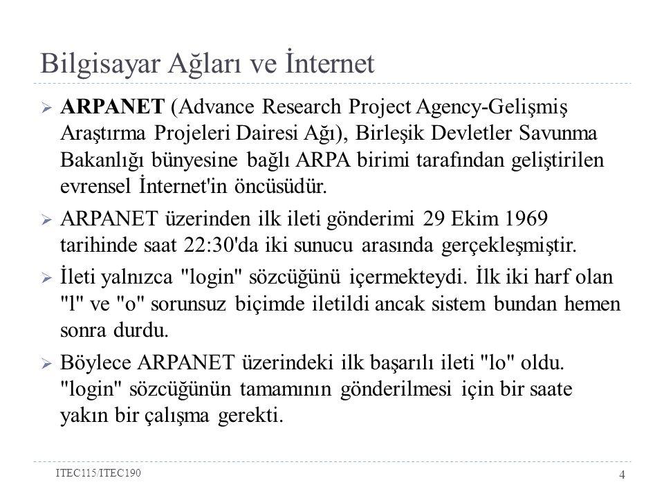 Bilgisayar Ağları ve İnternet  ARPANET (Advance Research Project Agency-Gelişmiş Araştırma Projeleri Dairesi Ağı), Birleşik Devletler Savunma Bakanlı