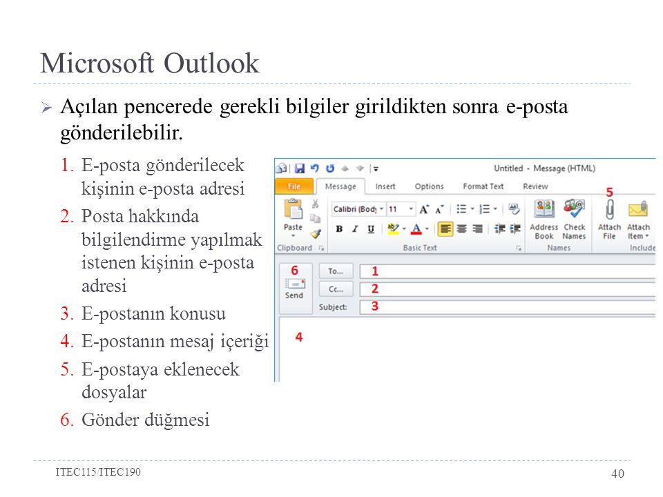 Microsoft Outlook  Açılan pencerede gerekli bilgiler girildikten sonra e-posta gönderilebilir. ITEC115/ITEC190 40 1.E-posta gönderilecek kişinin e-po