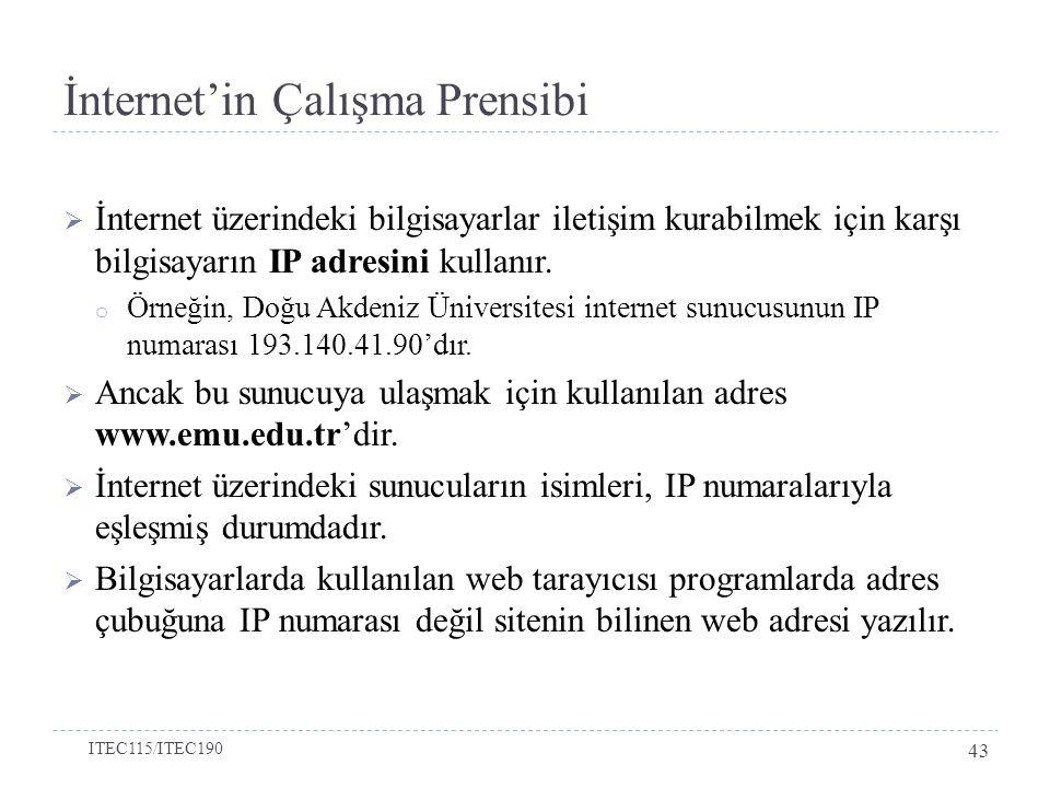 İnternet'in Çalışma Prensibi  İnternet üzerindeki bilgisayarlar iletişim kurabilmek için karşı bilgisayarın IP adresini kullanır. o Örneğin, Doğu Akd