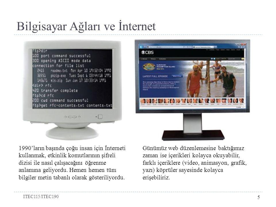Bilgisayar Ağları ve İnternet 1990'ların başında çoğu insan için İnterneti kullanmak, etkinlik komutlarının şifreli dizisi ile nasıl çalışacağını öğre
