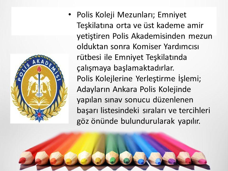 Polis Koleji Mezunları; Emniyet Teşkilatına orta ve üst kademe amir yetiştiren Polis Akademisinden mezun olduktan sonra Komiser Yardımcısı rütbesi ile
