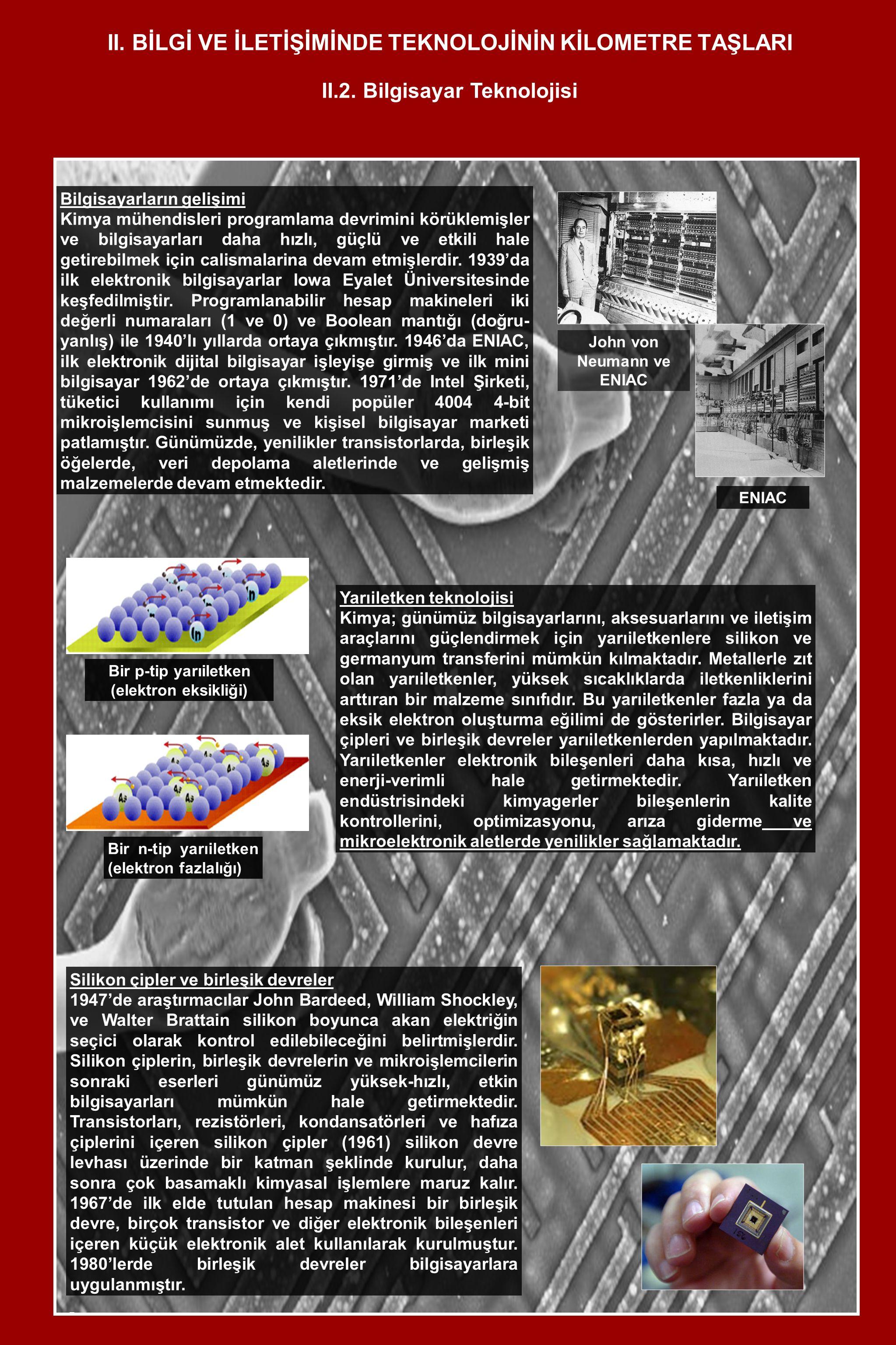II. B İ LG İ VE İ LET İ Ş İ M İ NDE TEKNOLOJ İ N İ N K İ LOMETRE TAŞLARI Bilgisayarların gelişimi Kimya mühendisleri programlama devrimini körüklemişl