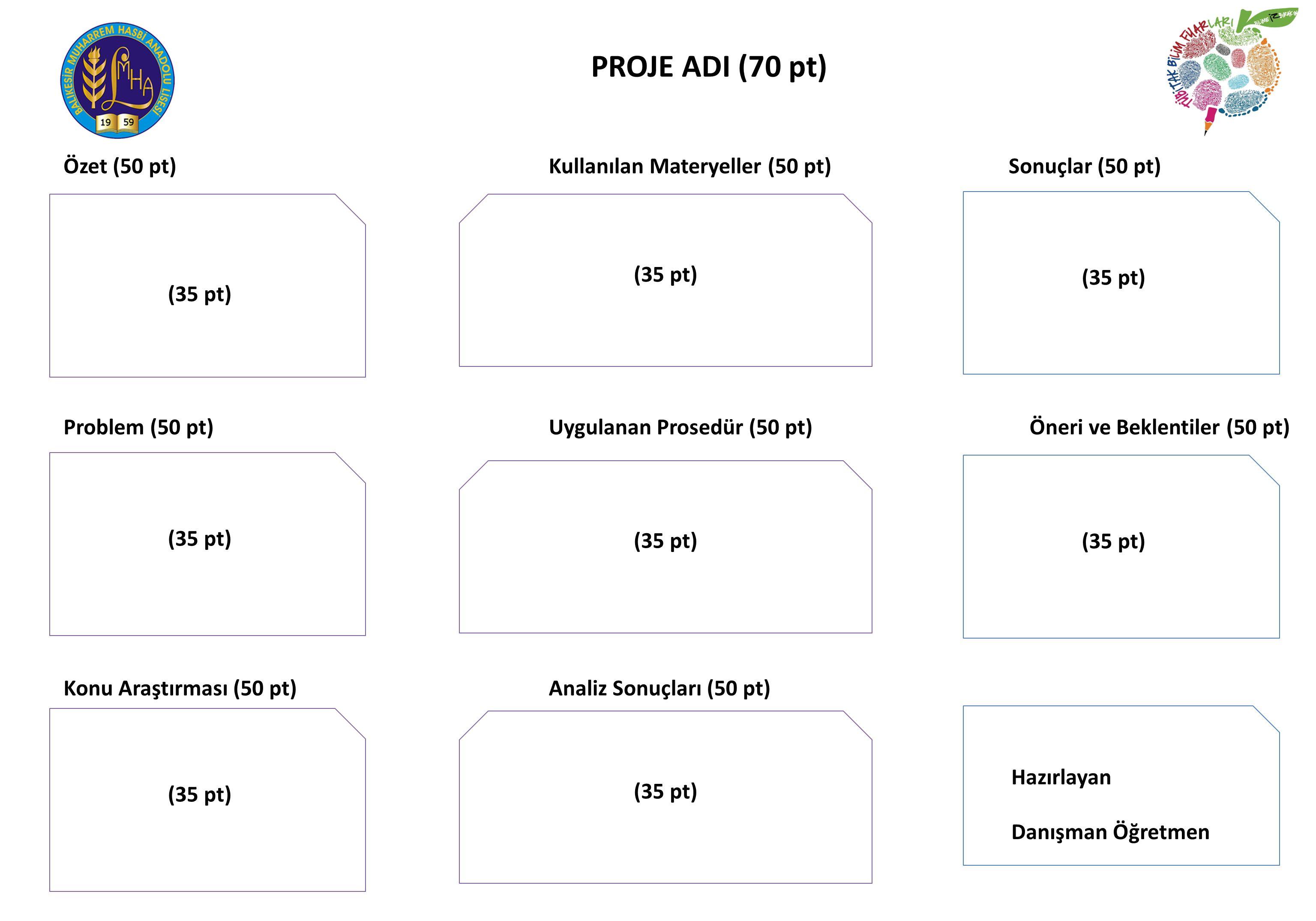 Özet (50 pt) Problem (50 pt) Konu Araştırması (50 pt) PROJE ADI (70 pt) Kullanılan Materyeller (50 pt) Uygulanan Prosedür (50 pt) Analiz Sonuçları (50