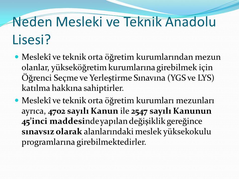 Neden Mesleki ve Teknik Anadolu Lisesi.
