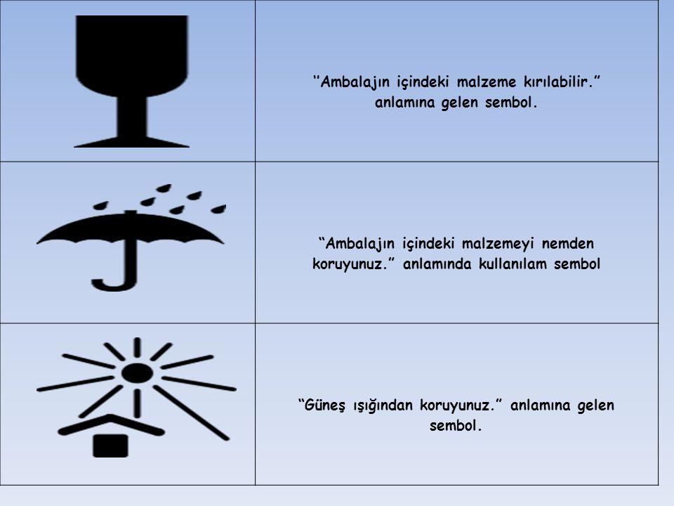 """''Ambalajın içindeki malzeme kırılabilir."""" anlamına gelen sembol. """"Ambalajın içindeki malzemeyi nemden koruyunuz."""" anlamında kullanılam sembol """"Güneş"""
