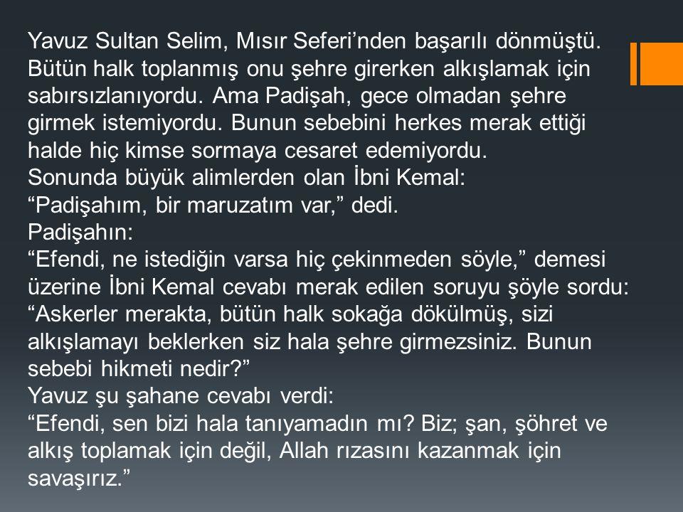 Yavuz Sultan Selim, Mısır Seferi'nden başarılı dönmüştü. Bütün halk toplanmış onu şehre girerken alkışlamak için sabırsızlanıyordu. Ama Padişah, gece