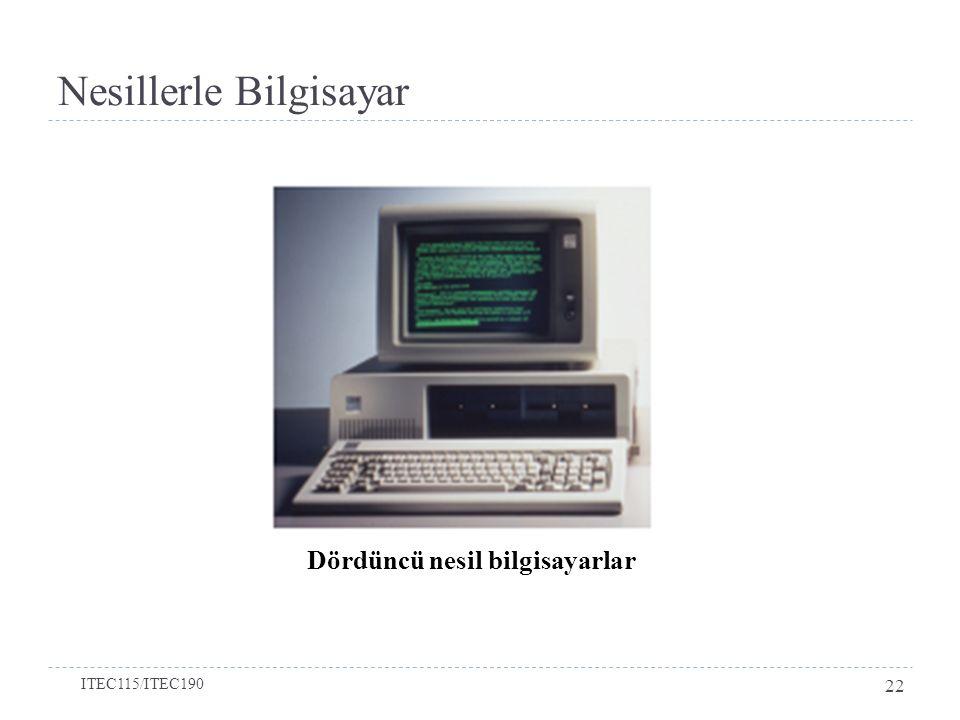 Nesillerle Bilgisayar Dördüncü nesil bilgisayarlar ITEC115/ITEC190 22
