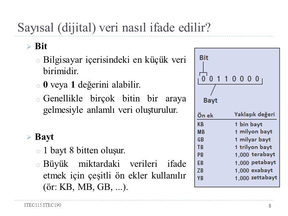 Sayısal (dijital) veri nasıl ifade edilir?  Bit o Bilgisayar içerisindeki en küçük veri birimidir. o 0 veya 1 değerini alabilir. o Genellikle birçok