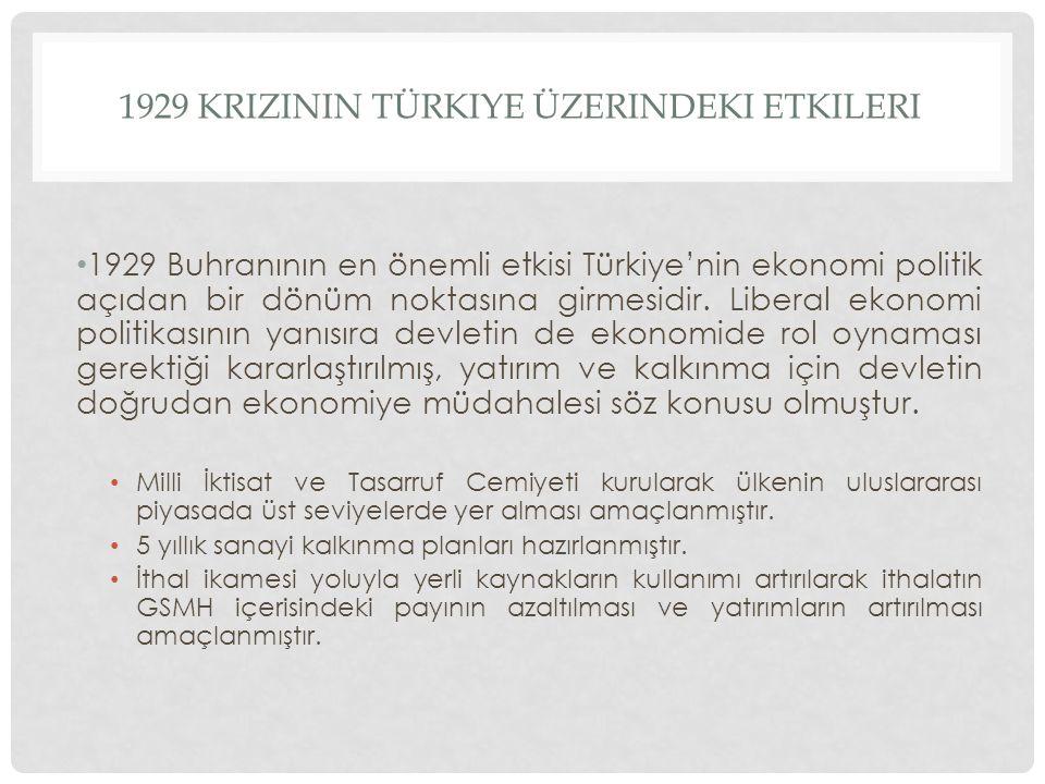 1929 KRIZININ TÜRKIYE ÜZERINDEKI ETKILERI 1929 Buhranının en önemli etkisi Türkiye'nin ekonomi politik açıdan bir dönüm noktasına girmesidir. Liberal
