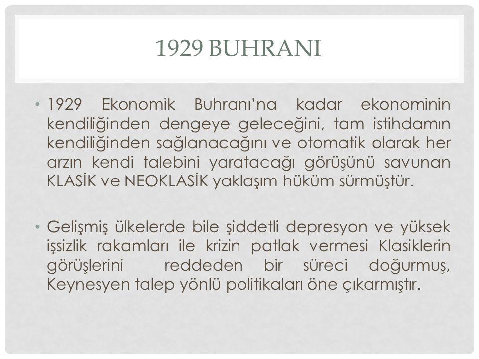 1929 BUHRANI 1929 Ekonomik Buhranı'na kadar ekonominin kendiliğinden dengeye geleceğini, tam istihdamın kendiliğinden sağlanacağını ve otomatik olarak