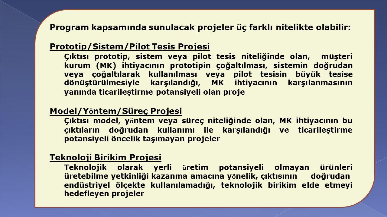 Program kapsamında sunulacak projeler üç farklı nitelikte olabilir: Prototip/Sistem/Pilot Tesis Projesi Çıktısı prototip, sistem veya pilot tesis nite