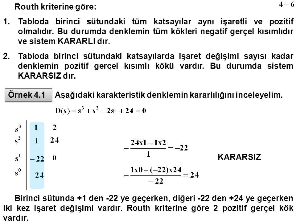 Routh kriterine göre: 1.Tabloda birinci sütundaki tüm katsayılar aynı işaretli ve pozitif olmalıdır. Bu durumda denklemin tüm kökleri negatif gerçel k