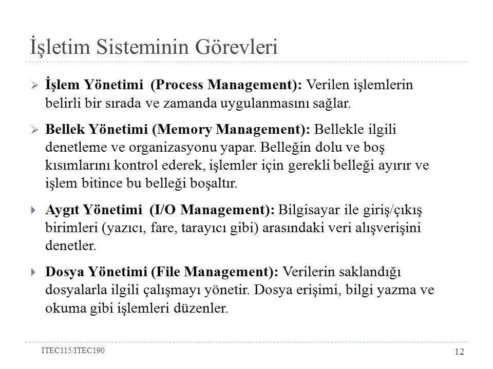  İşlem Yönetimi (Process Management): Verilen işlemlerin belirli bir sırada ve zamanda uygulanmasını sağlar.