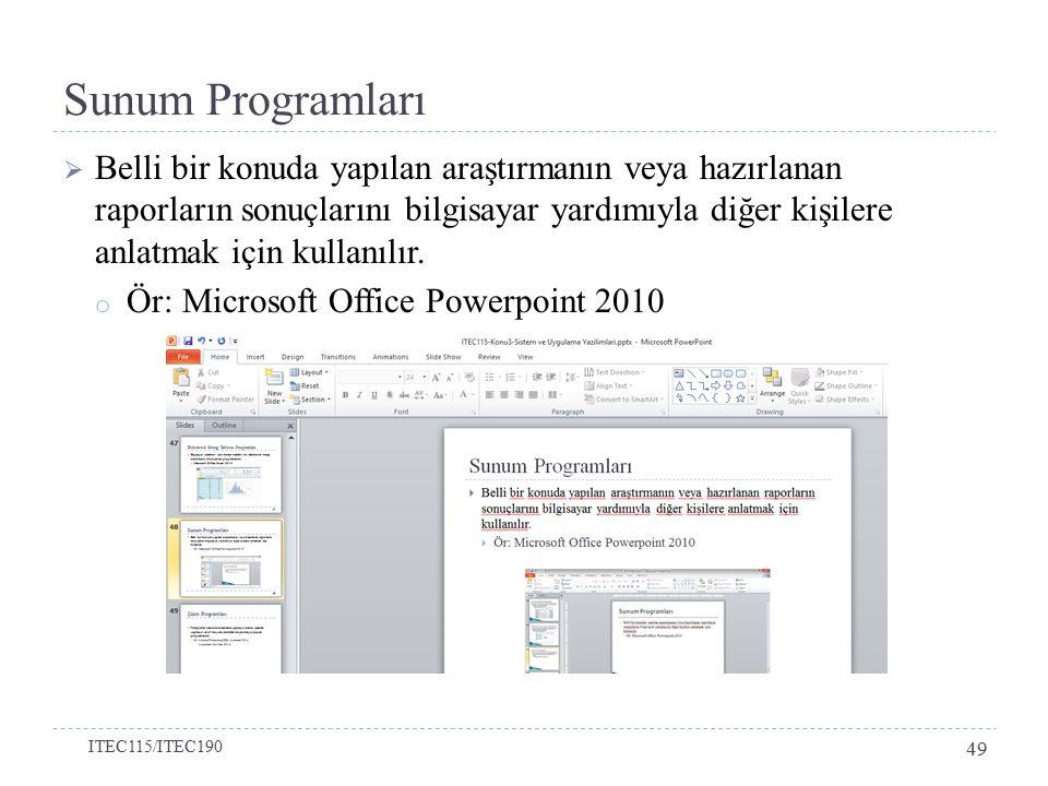  Belli bir konuda yapılan araştırmanın veya hazırlanan raporların sonuçlarını bilgisayar yardımıyla diğer kişilere anlatmak için kullanılır.