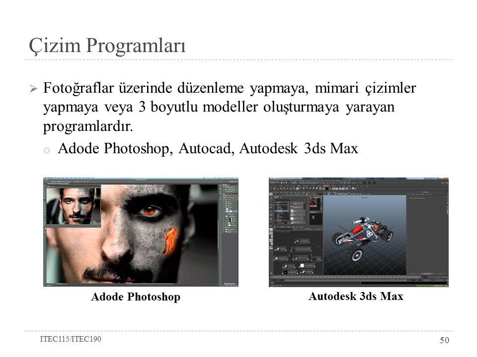  Fotoğraflar üzerinde düzenleme yapmaya, mimari çizimler yapmaya veya 3 boyutlu modeller oluşturmaya yarayan programlardır.