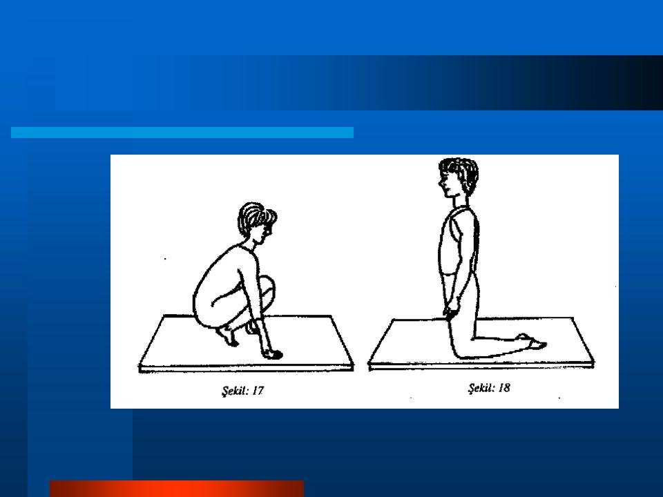 6- Diz üstü oturuş: Diz üstü duruştayken, topuklar üzerine oturuştur.