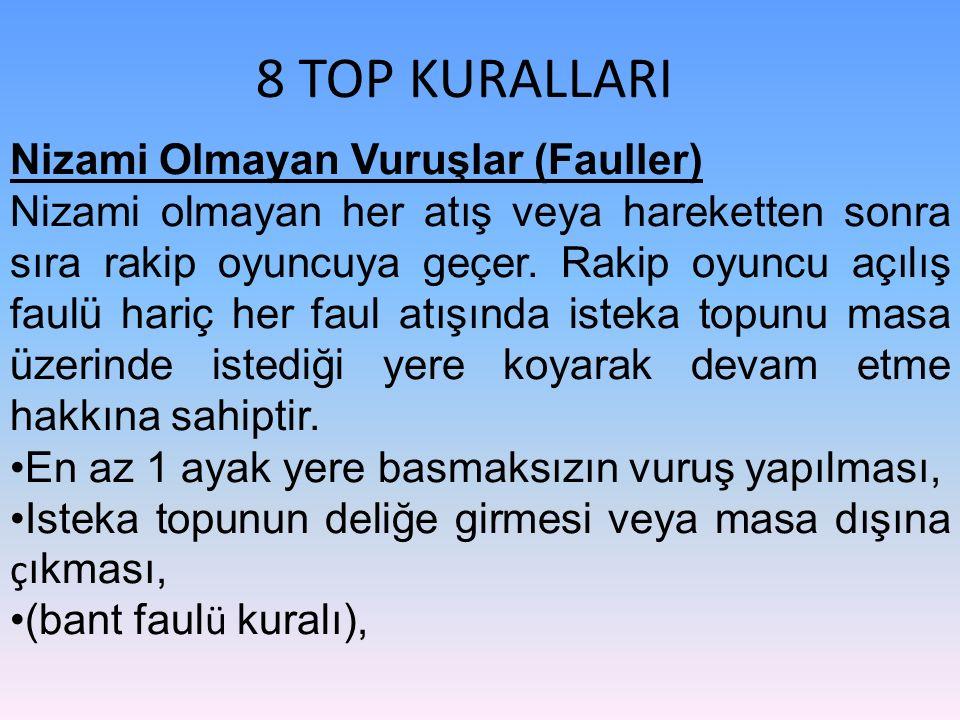 8 TOP KURALLARI Nizami Olmayan Vuruşlar (Fauller) Nizami olmayan her atış veya hareketten sonra sıra rakip oyuncuya geçer. Rakip oyuncu açılış faulü h
