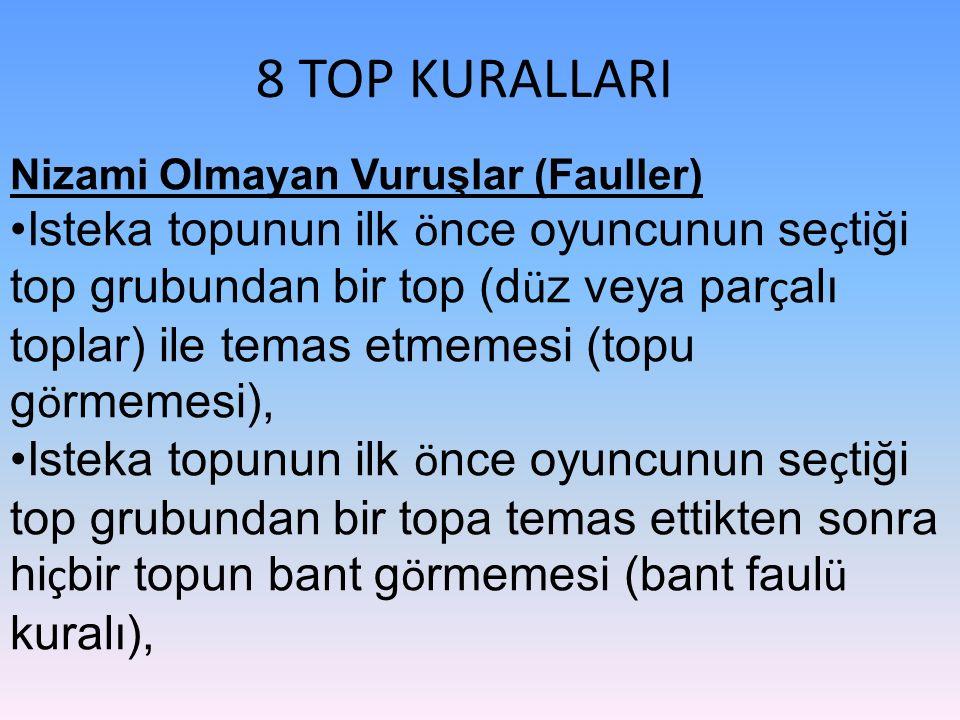 8 TOP KURALLARI Nizami Olmayan Vuruşlar (Fauller) Isteka topunun ilk ö nce oyuncunun se ç tiği top grubundan bir top (d ü z veya par ç alı toplar) ile