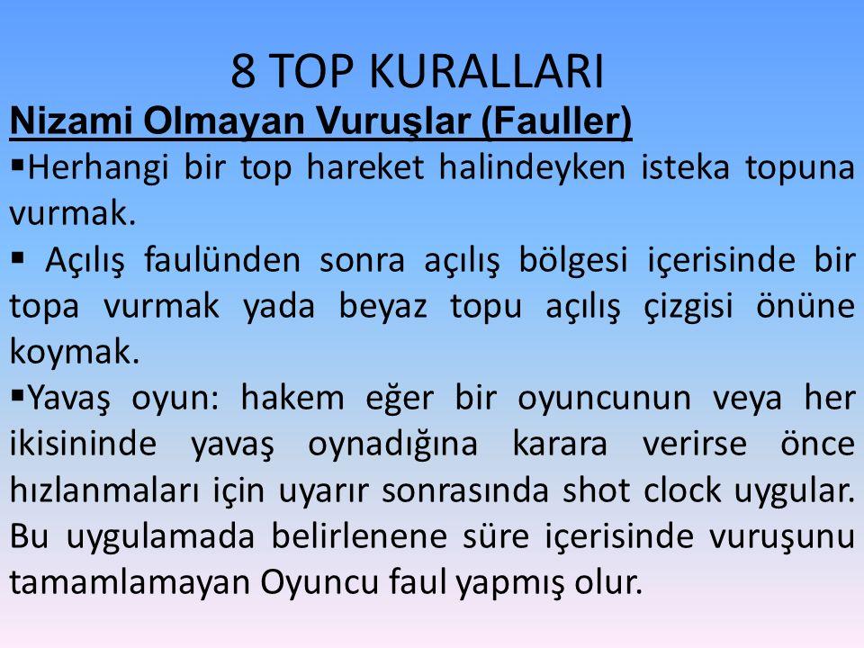 8 TOP KURALLARI Nizami Olmayan Vuruşlar (Fauller)  Herhangi bir top hareket halindeyken isteka topuna vurmak.  Açılış faulünden sonra açılış bölgesi