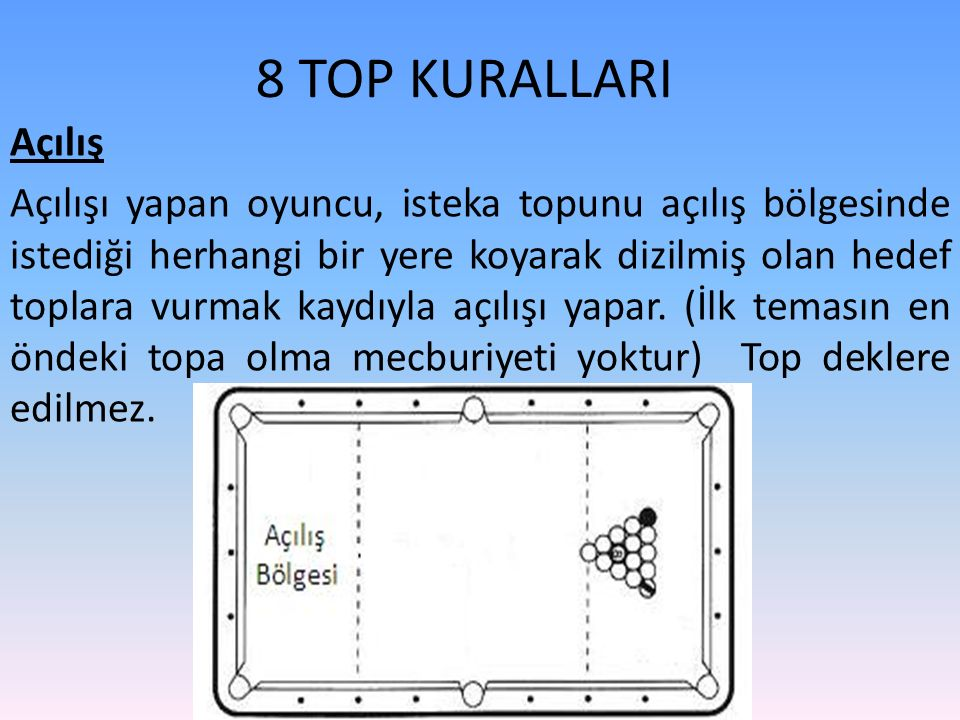 8 TOP KURALLARI Açılış Açılışı yapan oyuncu, isteka topunu açılış bölgesinde istediği herhangi bir yere koyarak dizilmiş olan hedef toplara vurmak kaydıyla açılışı yapar.