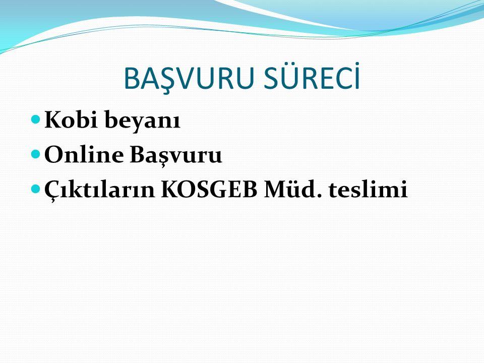 BAŞVURU SÜRECİ Kobi beyanı Online Başvuru Çıktıların KOSGEB Müd. teslimi