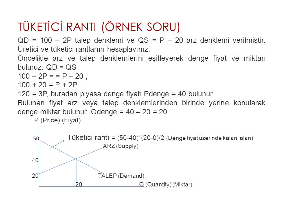 TÜKETİCİ RANTI (ÖRNEK SORU) QD = 100 – 2P talep denklemi ve QS = P – 20 arz denklemi verilmiştir.