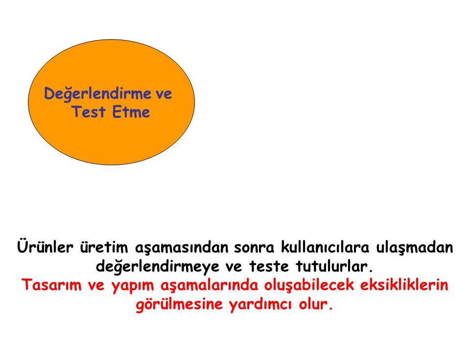 Değerlendirme ve Test Etme Ürünler üretim aşamasından sonra kullanıcılara ulaşmadan değerlendirmeye ve teste tutulurlar.