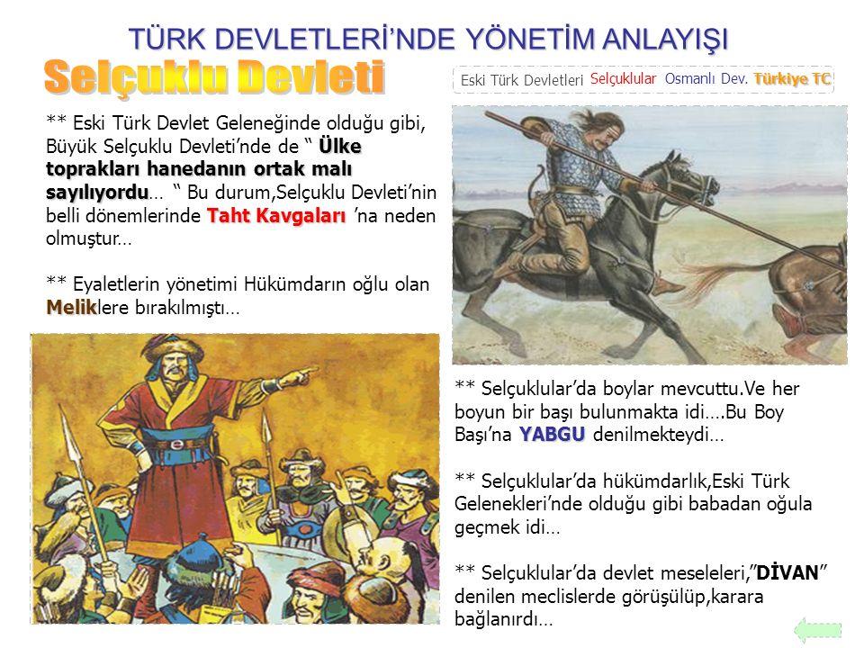 TÜRK DEVLETLERİ'NDE YÖNETİM ANLAYIŞI Merkeziyetçi ** Osmanlı Devleti, Merkeziyetçi bir devlettir….