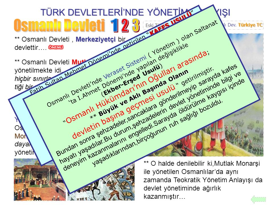 TÜRK DEVLETLERİ'NDE YÖNETİM ANLAYIŞI DİVAN-I HÜMAYUN ** Osmanlı Devleti'nde devlet meseleleri DİVAN-I HÜMAYUN denilen meclislerde görüşülür ve karara bağlanırdı… Hükümdarlık ** Osmanlılarda Hükümdarlık,diğer Türk Devletleri'nde olduğu gibi babadan oğula geçmekte idi...