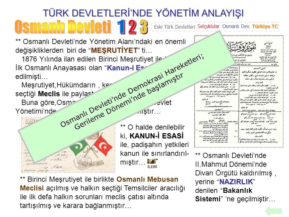 TÜRK DEVLETLERİ'NDE YÖNETİM ANLAYIŞI 1 2 3 4 5 6 Tanzimat Fermanı Maddeleri 1.