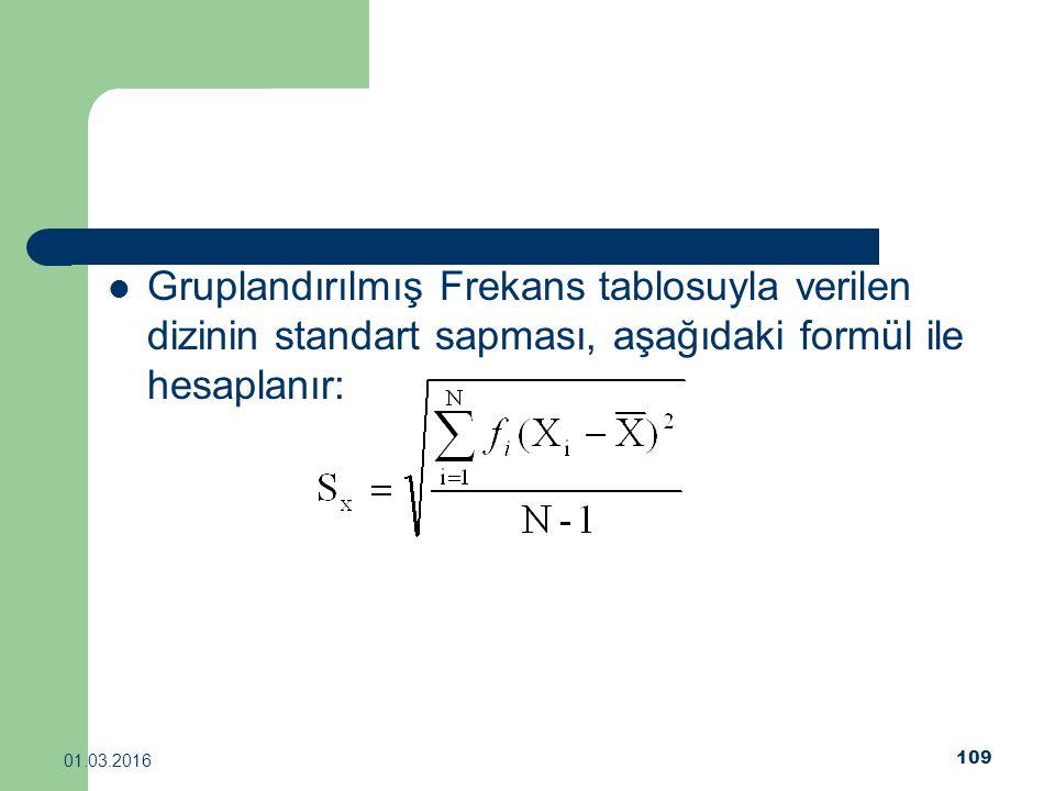 109 01.03.2016 Gruplandırılmış Frekans tablosuyla verilen dizinin standart sapması, aşağıdaki formül ile hesaplanır: