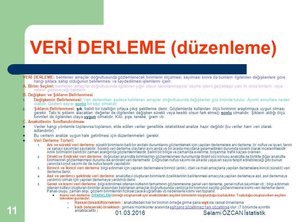 01.03.2016Selami ÖZCAN İstatistik 11 VERİ DERLEME (düzenleme) VERİ DERLEME: belirlenen amaçlar doğrultusunda gözlemlenecek birimlerin ölçülmesi, sayıl