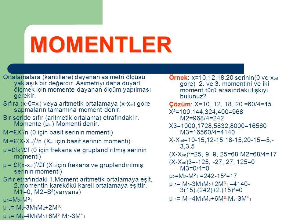 MOMENTLER Ortalamalara (kantillere) dayanan asimetri ölçüsü yaklaşık bir değerdir. Asimetriyi daha duyarlı ölçmek için momente dayanan ölçüm yapılması