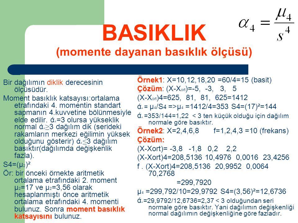 BASIKLIK (momente dayanan basıklık ölçüsü) Bir dağılımın diklik derecesinin ölçüsüdür. Moment basıklık katsayısı:ortalama etrafındaki 4. momentin stan