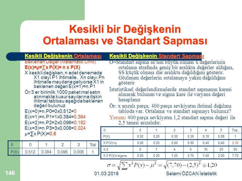 01.03.2016Selami ÖZCAN İstatistik 146 Kesikli bir Değişkenin Ortalaması ve Standart Sapması Kesikli Değişkenin Ortalaması Beklenen Değer (Matematik Üm