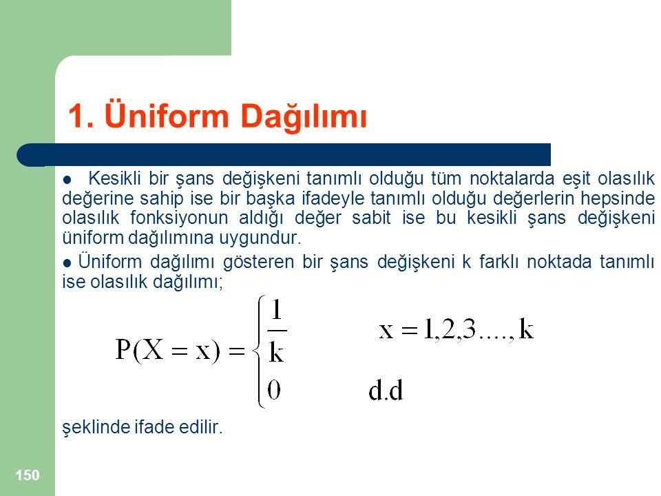 1. Üniform Dağılımı Kesikli bir şans değişkeni tanımlı olduğu tüm noktalarda eşit olasılık değerine sahip ise bir başka ifadeyle tanımlı olduğu değerl