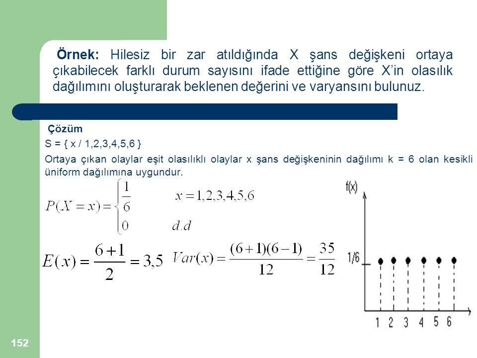 Çözüm S = { x / 1,2,3,4,5,6 } Ortaya çıkan olaylar eşit olasılıklı olaylar x şans değişkeninin dağılımı k = 6 olan kesikli üniform dağılımına uygundur