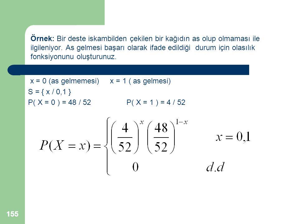 x = 0 (as gelmemesi) x = 1 ( as gelmesi) S = { x / 0,1 } P( X = 0 ) = 48 / 52 P( X = 1 ) = 4 / 52 155 Örnek: Bir deste iskambilden çekilen bir kağıdın