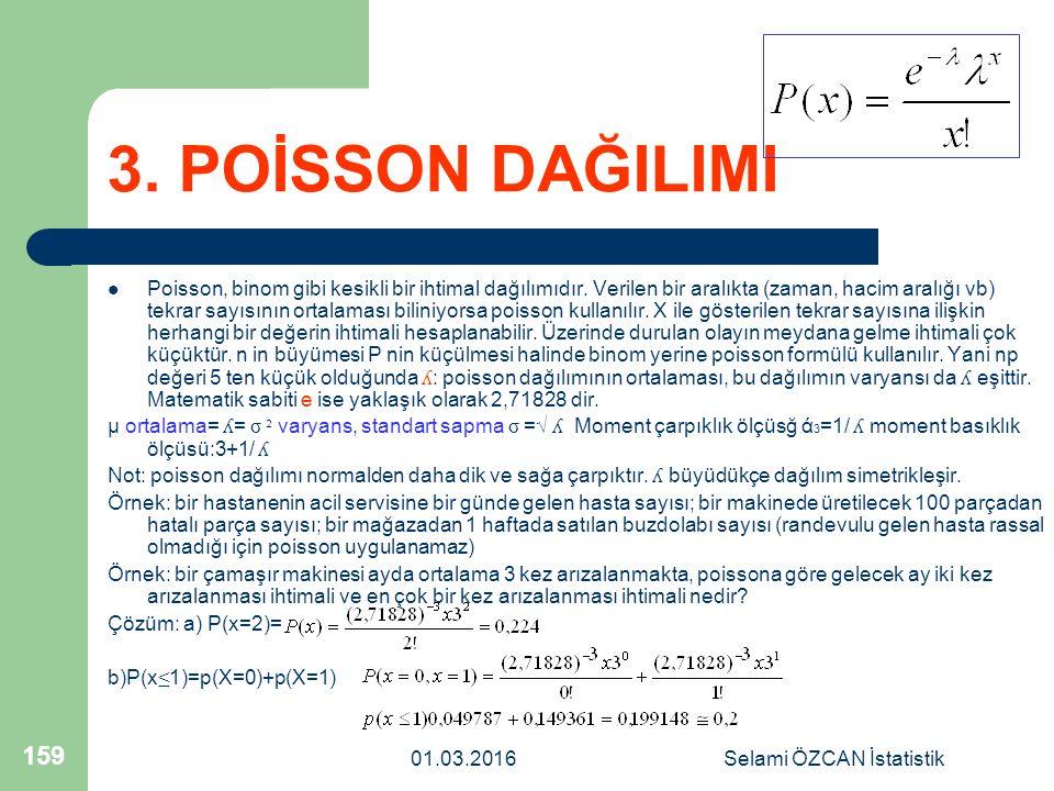 01.03.2016Selami ÖZCAN İstatistik 159 3. POİSSON DAĞILIMI Poisson, binom gibi kesikli bir ihtimal dağılımıdır. Verilen bir aralıkta (zaman, hacim aral